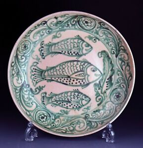 *SC*  MINT CONDITION HUGE ANTIQUE BURMESE POTTERY DISH, 17TH-18TH CENT.