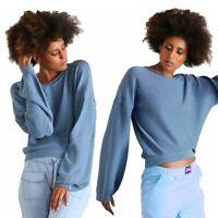 Pullover donna EVERLAST in cotone maglia corta manica larga scollo barca azzurro