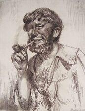 Signed JOE DUNCAN GLEASON American (1881-1959) Original Nautical Sailor Etching