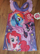 New-Girls-Size-4-Nightgown-My-Little-Pony-Ruffle-Shoulder-Sleeveless-Multi-Color