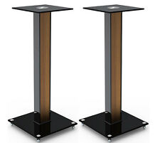 """Aluminum Glass and Wood Bookshelf Speaker Stand 23.6"""" with floor spikes set of 2"""