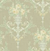 Neoclassical Floral Wallpaper Green Blush Silver in the Victorian Arts and Craft