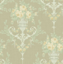Victorian Floral Damask Wallpaper Silver Pink Green Arts Crafts Samples Too