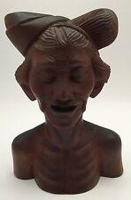 Vintage Figural Carved Wooden Asian Indonesian Vietnamese? Man Bust Sculpture