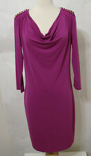 MICHAEL KORS Peony Pink Gold Chain Cowl Neck Long Sleeve Dress NWD M Orig $140