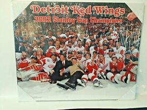 """Detroit Redwings 2002 Stanley Cup Champ Plaque Approximately 20x16x3/8"""" NEW!"""