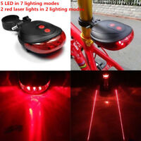 Waterproof 7 LED 2 Laser Bike Bicycle Light Rear Tail Flashing Safe Warning Lamp