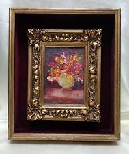 Colorful Floral Arrangement Oil Painting on Board w. Ornate Antique Wooden Frame