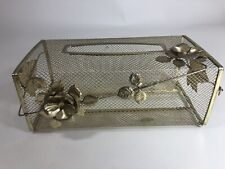 Vintage Metal Gold Tissue Box Cover Rose Leaf Vanity Dresser Women's Powder room