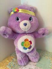 "Care Bear Harmony Bear 14"" Plush with Headband Toy Purple 2007 Stuffed Animal"