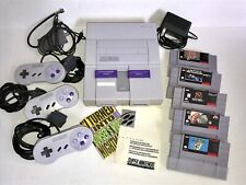 Original Super Nintendo SNES Console Game System w 5 Games & 3 Controllers Works