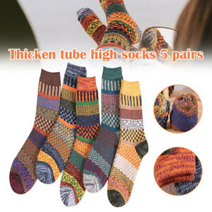 5 Pairs Autumn Winter Nordic Socks Thick Knitted Two-Way Colorful Patten Fashion