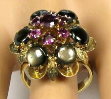 Antique Women's 6.65CT Black Star Sapphire Ruby Cocktail Ring 14K Yellow Gold