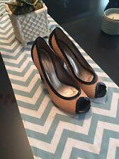Diane von Furstenberg Nude Black Calf Hair Platform Pumps Heels  9 Wingtip Fab!