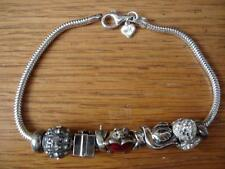 KAY JEWELERS CHARMED MEMORIES BRACELET WITH 8 ASSORTED CHARMS STERLING SILVER