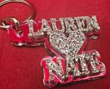 Double Name Key Chain Name Plate Custom Any Name Shape Couple Keychain Laser Cut