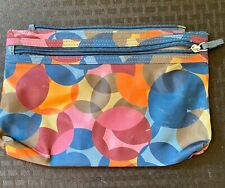 """Vinyl Colorful Orange Blue Pink Abstract zippered 6x9""""Cosmetic Makeup Bag NICE!"""