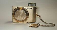 Vintage Sony TR-8 Transistor 8 Mini Radio Works New Batteries Goldtone Camera