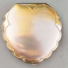 Vintage American Beauty Elgin Compact Make up Brass USA Decorative Edge Design