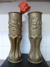 (12&13) TWO WW11 TRENCH ART BRASS VASE POPPY HOLDERS, WITH DOVE OF PEACE DESIGNS