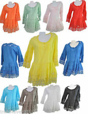 Cotton Blend Short Sleeve Tunic Casual Tops for Women