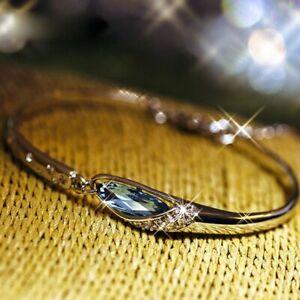 925 Silver Zircon Crystal Charms Bracelet Cuff Bangle Women Jewelry Wedding Gift