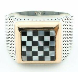 .925 Sterling Silver Black & White Onyx Chess Shape Men's Ring -US Seller- 1K4M