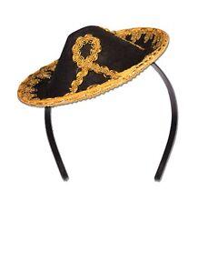 Black & Gold Mini Sombrero Spanish Mexican Hat Headband Adult Costume Accessory