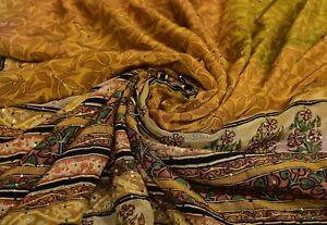 Jaune Vintage Saree Floral Brodé Soie Tissu Indien Femme Robe Enveloppement 4.6m