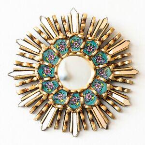 "Turquoise Round Sunburst Mirror 7.8"", Ornate Accent Wall Mirror ""Luxurious Sun"""