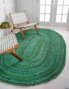Rug Woval Cotton Reversible Oval Rug Braided Hnadmade Rustic Look Style Area Rug