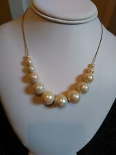 Vintage quirky pretty delicate silver metal chain + cream painted bead necklace