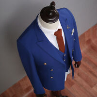 Royal Blue 3 Pieces Double Breasted Groom Tuxedos Best Men Formal Wedding Suits+