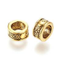 50pcs Tibetan Alloy Ring Metal European Beads Large Hole Carved Charms Gold 8mm