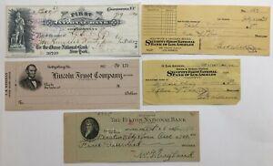 Lot of 5 vintage national bank checks Cooperstown Gettysburg Los Angeles Atlanta