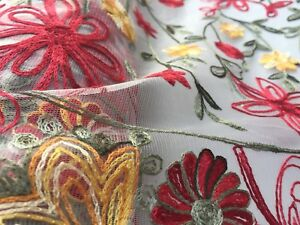 Embroidered French Lace, 'Gatsby' Red (per metre) dress fabric, sewing