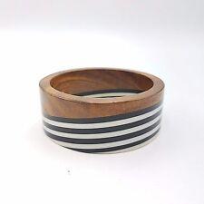 Vintage Lucite and Wood Bangle Bracelets Black & White