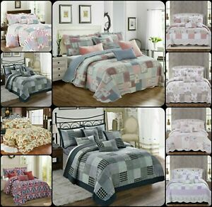 3PCs Patchwork Eiderdown Quilted Bedspread Bed Throw Comforter with Pillow Shams