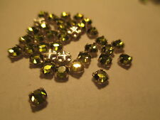 36 Swarovski Olivine  Crystal Rose Montees 12SS  or 3 mm Prong held SM8  (4)
