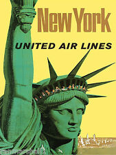 New York City Statue of Liberty Vintage U.S. Travel Advertisement Art Poster
