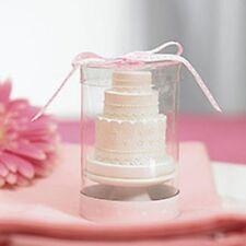 White Wedding Cake Candle Favours
