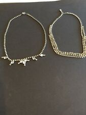 Unsigned Designer Vintage Necklace Choker Crystal Clear Rhinestone (A22)