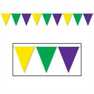 """Mardi Gras All-Weather Pennant Banner 12-Foot Long 10"""" x 12' Plastic Decorations"""