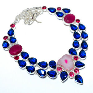 """Blue Sapphire & Ruby 925 Sterling Silver Jewelry Handmade Necklace 17.99"""" T2746"""