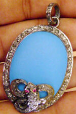 3.15ct Rose Cut Diamond Ruby Turquoise Victorian Look 925 Silver Pendant