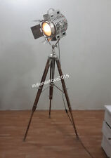 Vintage Nautical Tripod Floor Lamp Spot Searchlight Home  Decor Light In Chrome