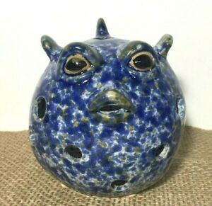 Blue Speckled Fish Face Votive Round Candle Holder Glazed Pottery Sea Ocean