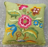 Vintage Green Crewel Embroidered Throw Pillow Flowers Hot Pink Blue Embroidery