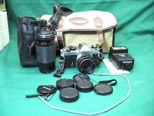 Nikon FE 35mm SLR Film Camera + 50mm 1.8 + 75-200mm Lenses Vivatar Flash