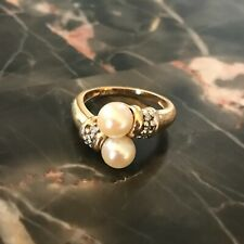 Solid 14k Gold Cultured Freshwater Pearl & 1/10 ctw. Diamond Ring - Sz 6